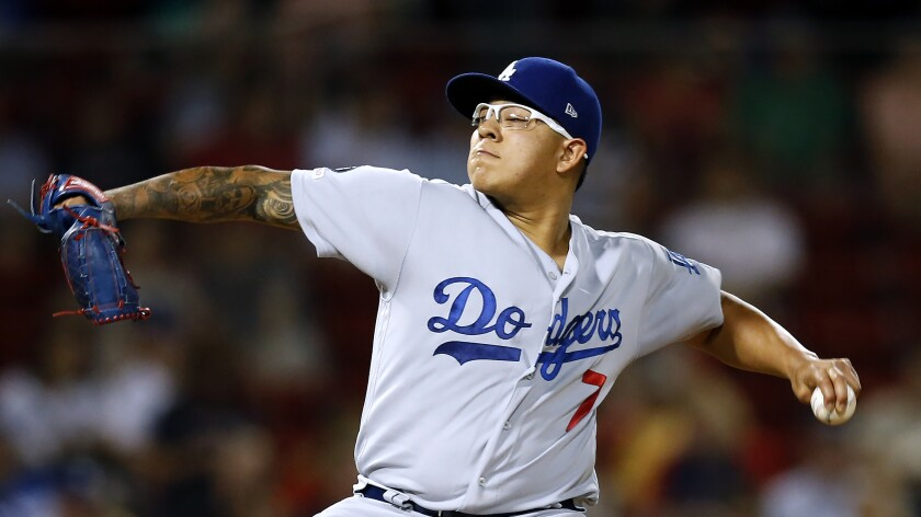 Julio Urias throws a pitch for Dodgers