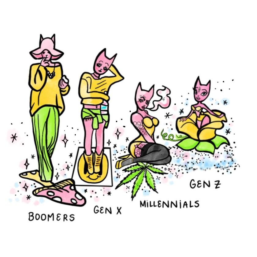 An illustration of four generations: boomers, Gen X, millennials and Gen Z