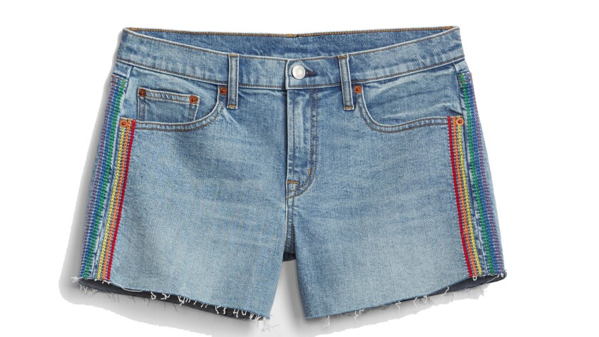 Denim shorts bearing rainbow stripes down the sides are among the offerings in a special collection by Gap.