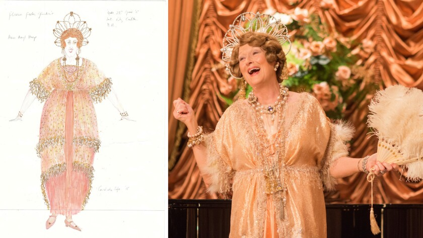 """Meryl Streep delighted in her outrageous outfits for """"Florence Foster Jenkins,"""" says costume designer Consolata Boyle."""