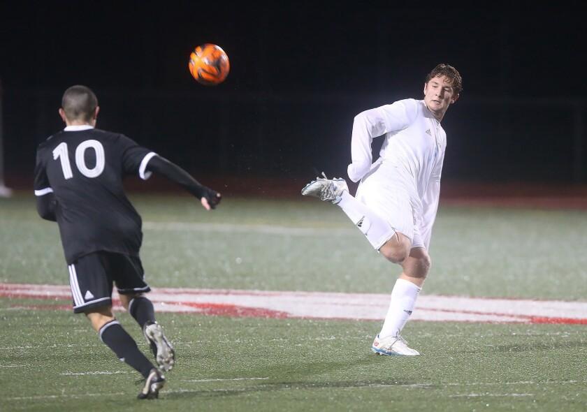 Corona del Mar's Matt Katz chips the ball behind him on a pass during nonleague soccer match against
