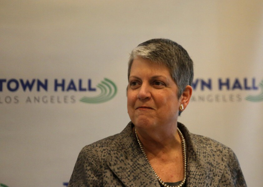 UC President Janet Napolitano, who recently spoke at a Town Hall Los Angeles event, is proposing larger enrollments of California undergraduates.