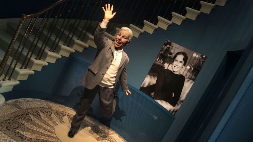 A wax figure of Charlie Chaplin greets visitors to Chaplin's World museum. Located in the hills abov