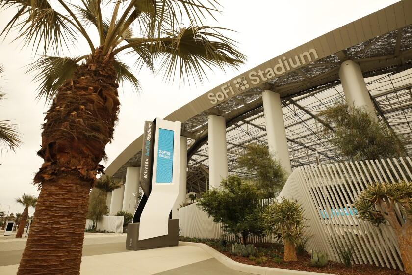 An exterior view of SoFi Stadium.