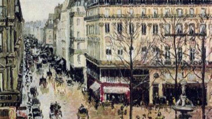 """""""Rue St. Honore, apres midi, effet de pluie,"""" oil on canvas @ 1897, Camille Pissarro [Note: accen"""