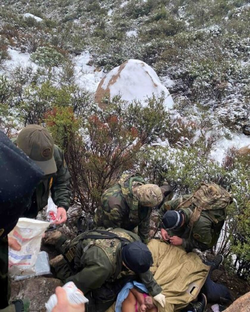 Agents from Border Patrol Search, Trauma and Rescue (BORSTAR) work Feb. 10, 2020 to try to save the life of Juana Santos Arce