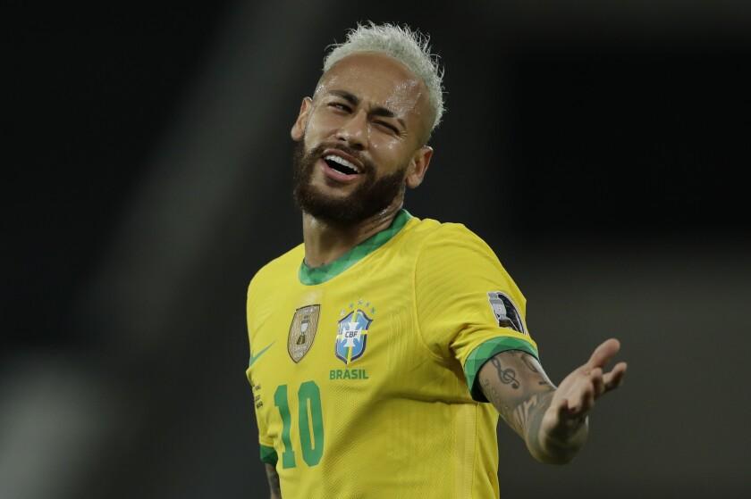 Brazil's Neymar reacts during a Copa America soccer match against Peru at Nilton Santos stadium in Rio de Janeiro, Brazil, Thursday, June 17, 2021. (AP Photo/Silvia Izquierdo)