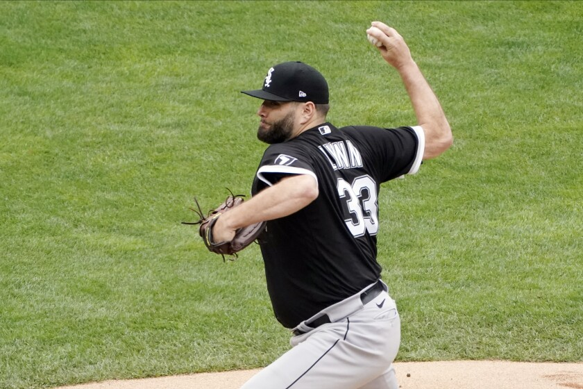 Chicago White Sox pitcher Lance Lynn throws against the Minnesota Twins in the first inning of a baseball game Wednesday, July 7, 2021, in Minneapolis. (AP Photo/Jim Mone)