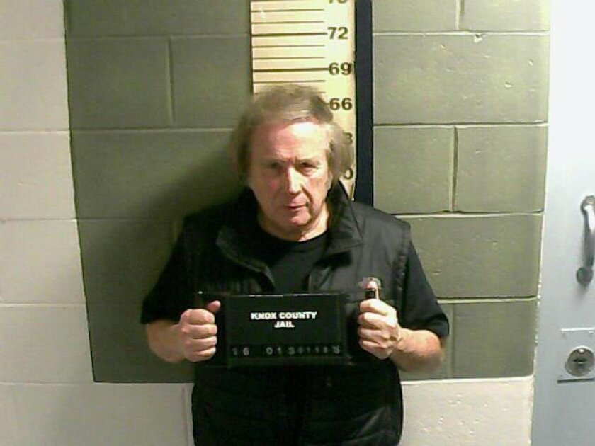 """This Monday, Jan. 18, 2016 photo provided by the Knox County Jail shows Don McLean. A jail supervisor said """"American Pie"""" singer McLean bad been arrested on a misdemeanor domestic violence charge in Maine. (Knox County Jail via AP)"""