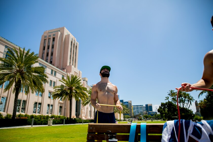 Jayson Chabrow works out at San Diego County's Waterfront Park on Wednesday, Aug. 5, 2020 in San Diego.