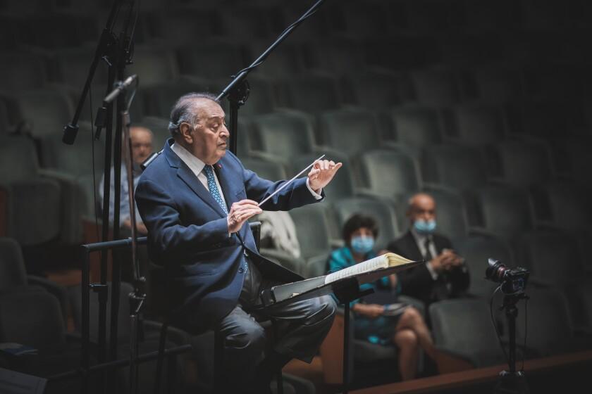 Zubin Mehta conducts at the 2020 Maggio Musicale Fiorentino festival in Florence, Italy.