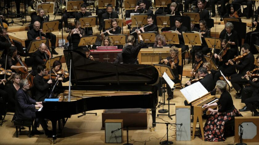 LOS ANGELES, CA January 18, 2019: Jean-Yves Thibaudet, piano, Susanna Mälkki, conductor, middle, a