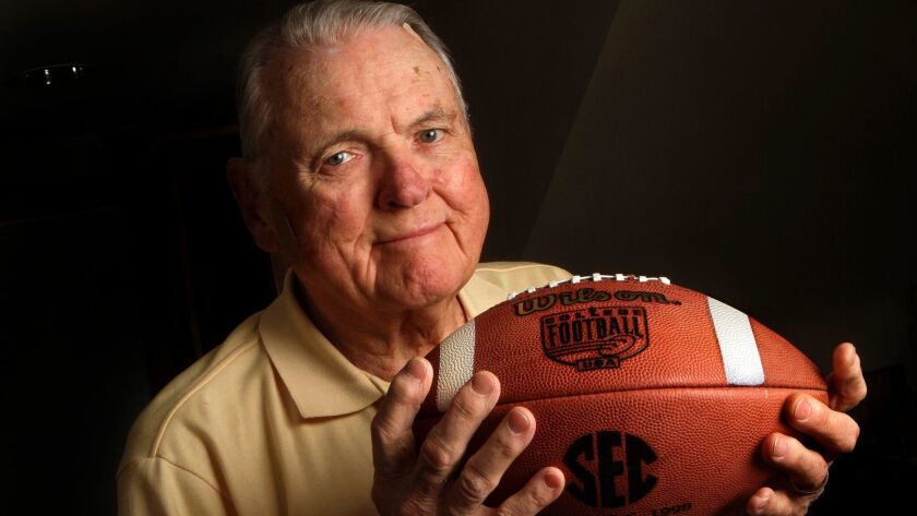 SHERMAN OAKS, CA-NOVEMBER 6, 2015: Legendary sports announcer Keith Jackson is photographed inside