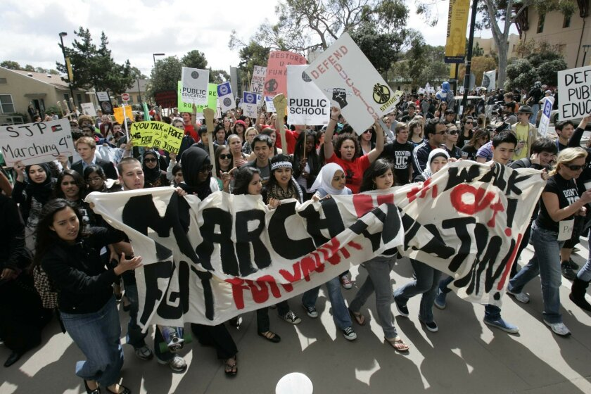 Thousands of UCSD students stage a protest March 4, 2010, against the rising cost of public education. U-T
