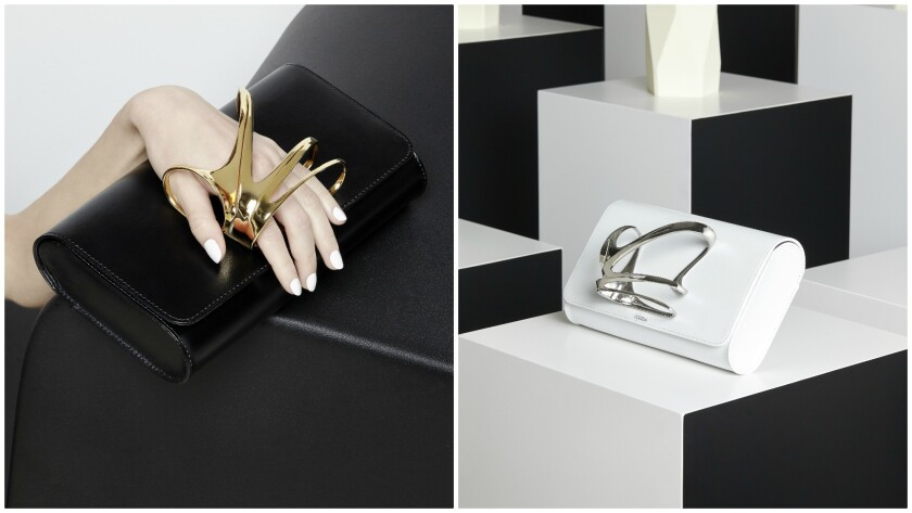 Clutches from the collaboration between luxury accessories brand Perrin Paris and the late British I