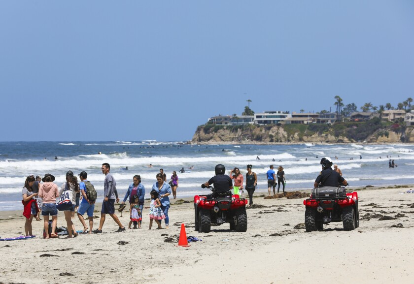 On Saturday SDPD used off all-terrain vehicles to help inform and enforce beach rules during the Memorial Day holiday weekend in Pacific Beach.
