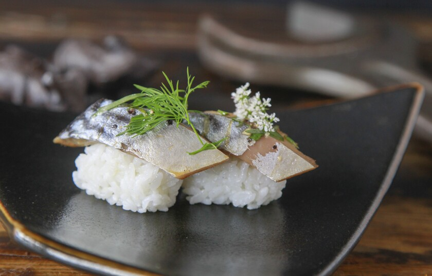 Chef Davin Waite prepared this Cured Mackerel Nigiri at his restaurant, Wrench and Rodent Seabasstropub in Oceanside.