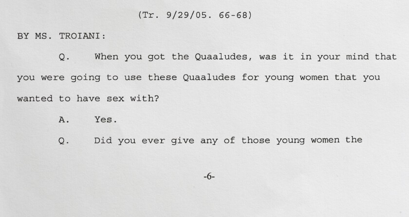 An excerpt from a 2005 deposition given by entertainer Bill Cosby and released Monday by the U.S. District Court for the Eastern District of Pennsylvania in Philadelphia shows Cosby admitting that he obtained Quaaludes with the intent of giving them to young women he wanted to have sex with.