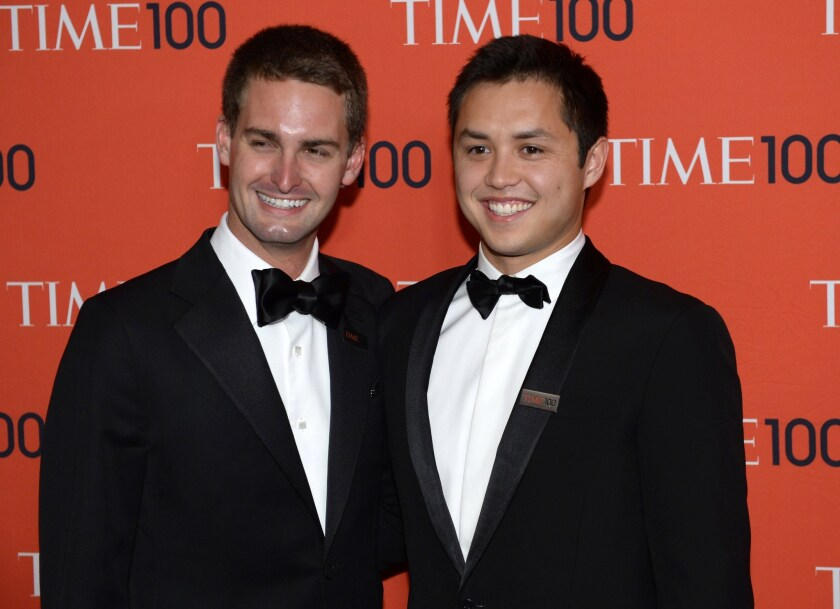 Snapchat co-founders Evan Spiegel, left, and Bobby Murphy have largely built their company in Los Angeles, but little of the capital they used along the way came from Southern California.