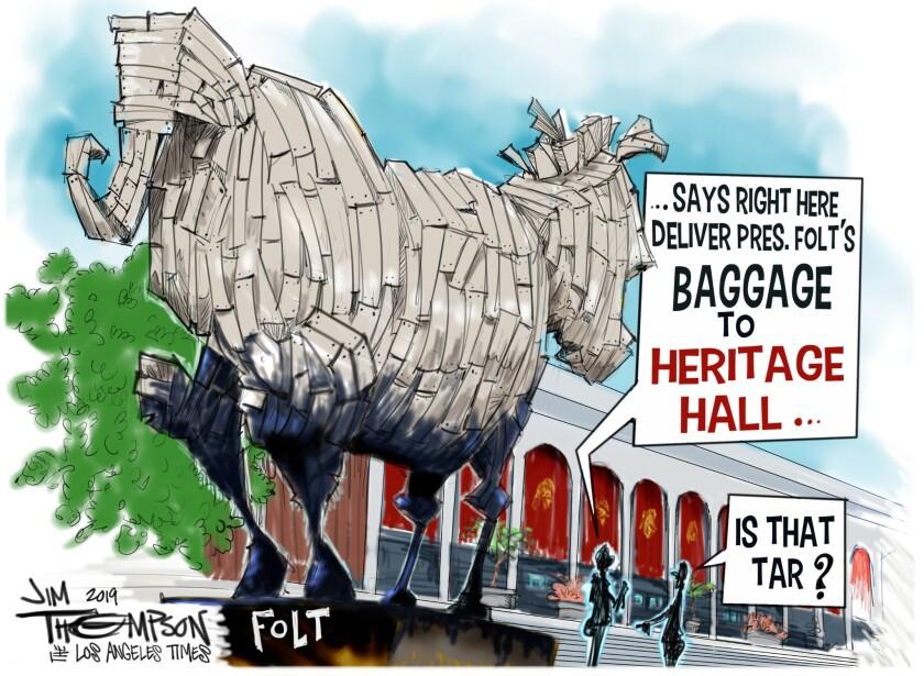 Cartoon of new USC President Carol Folt.