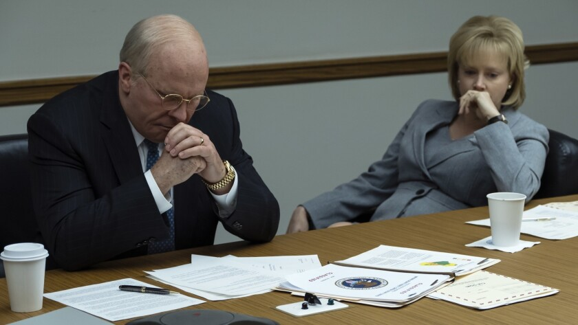 """(L-R) - Christian Bale stars as Dick Cheney and Amy Adams stars as Lynne Cheney in Adam McKay?s """"VIC"""