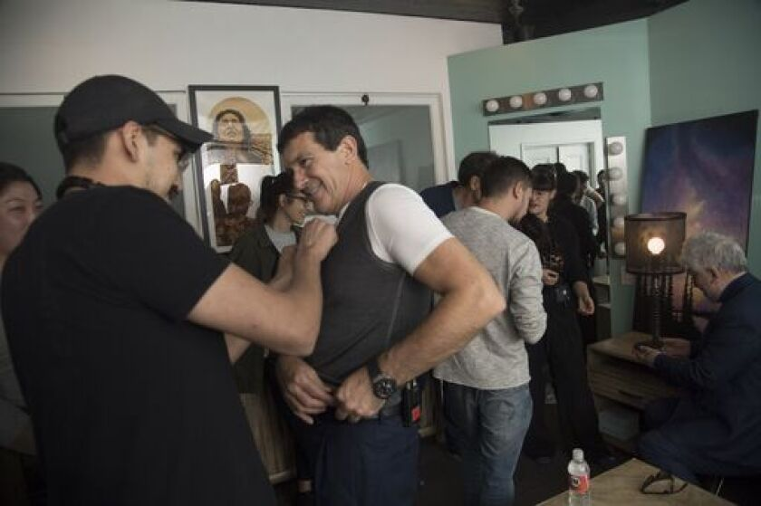 Antonio Banderas prepares to go onstage for an Envelope Screening Series event.