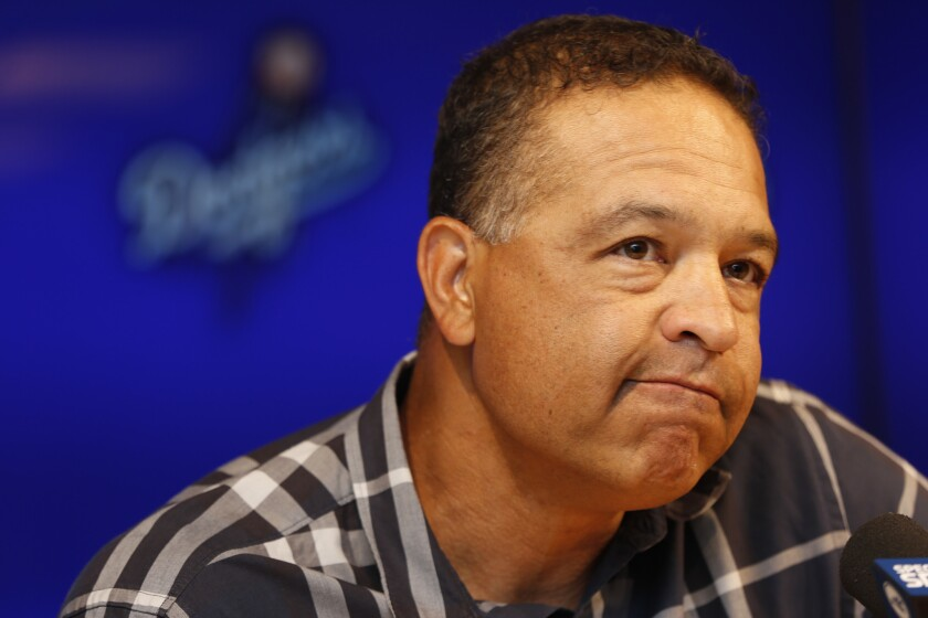 Dodgers Manager Dave Roberts discusses the team's injury-plagued season that finished short of the World Series during a news conference at Dodger Stadium on Oct. 24.