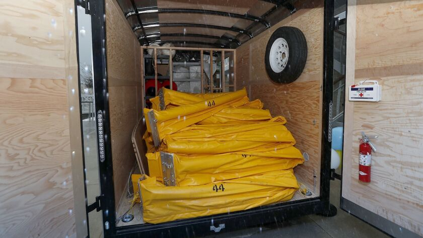 The oil spill response equipment includes 1,000 feet of yellow boom material that will be filled wit