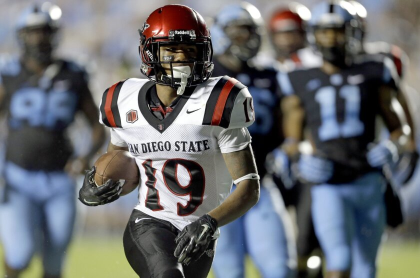 San Diego State's Donnel Pumphrey (19) runs the ball during the first half of an NCAA college football game against North Carolina.