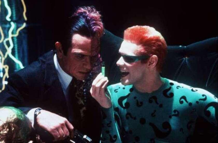 "Tommy Lee Jones, left, and Jim Carrey in ""Batman Forever."""
