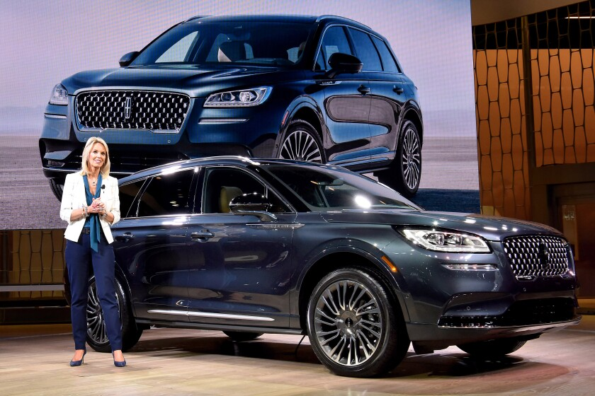 Joy Falotico, president of the Lincoln Motor Co., introduces the 2020 Lincoln Corsair at the 2019 New York auto show on Wednesday.