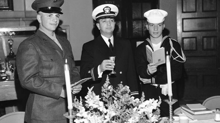 Jewish Passover dinner at the Naval Training Center, 1958
