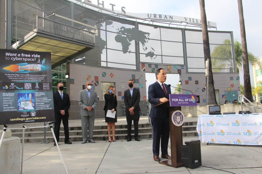 Mayor Todd Gloria in City Heights on Tuesday speaking on the internet access program.