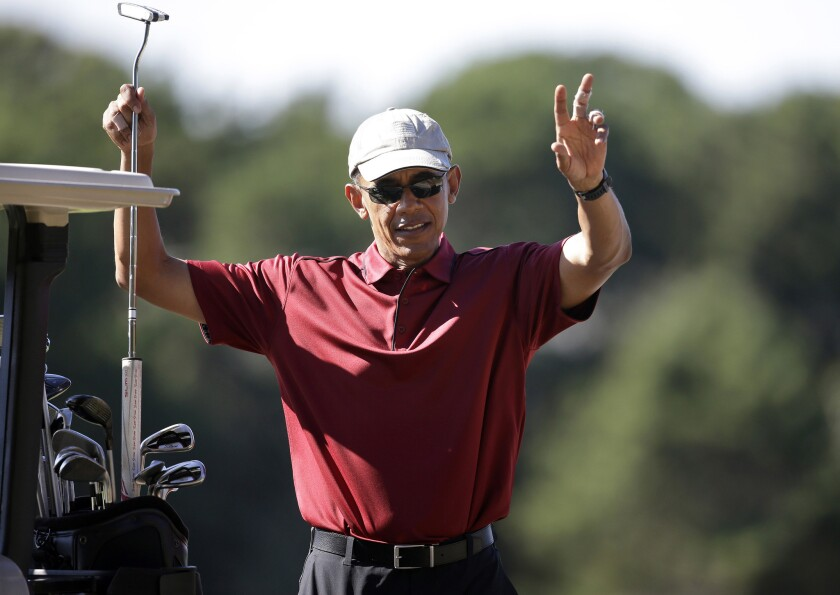 President Obama has played golf nearly 250 times while in office, including several rounds during his vacation this month on Martha's Vineyard in Massachusetts, but only five times has he golfed with members of Congress.