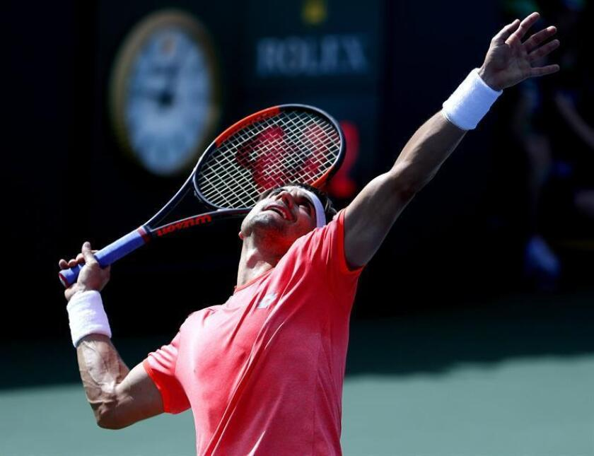 David Ferrer from Spain serves against Tennys Sandgren from USA during the BNP Paribas Open at the Indian Wells Tennis Garden in Indian Wells, California, USA. EFE