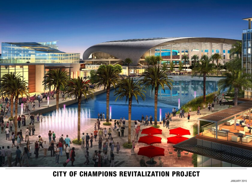 A rendering of a proposed NFL-caliber stadium in Inglewood.