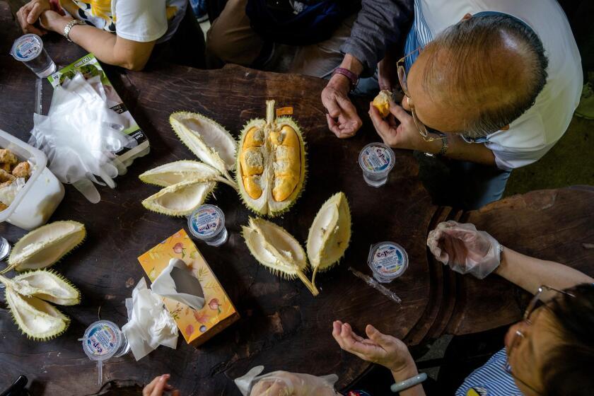 Un grupo de turistas de Hong Kong se dan un festín con un durian de Musang King en su viaje anual a Malasia para comer durián en Durian Kaki, un puesto de frutas en la carretera de Tan Eow Chong y su familia en Bayan Lepas, Malasia. Suzanne Lee / Especial para el Times