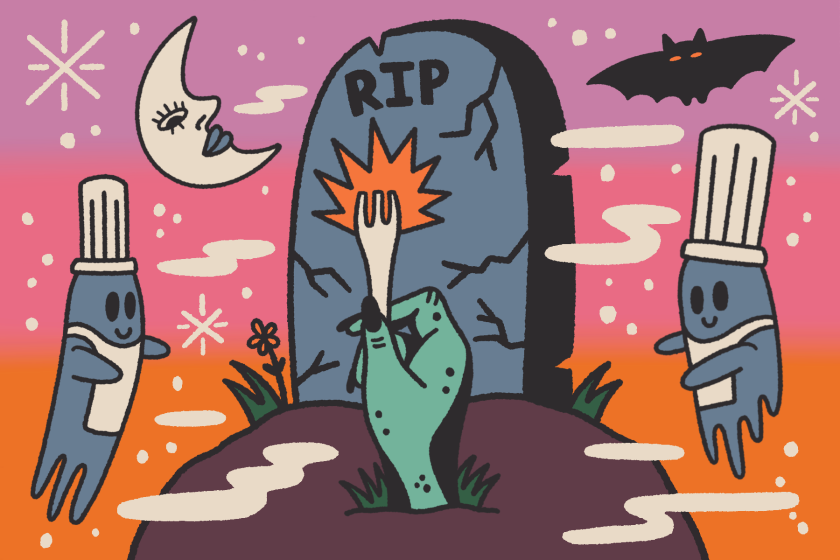 illustration of a hand popping out of a graveyard holding a fork.