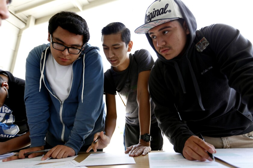 Students register to vote at Esteban Torres High School in Los Angeles on May 4, 2015.