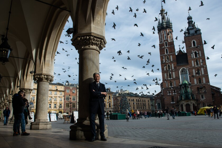 Robert Biedron recently visited Krakow's main square during his campaign for president.