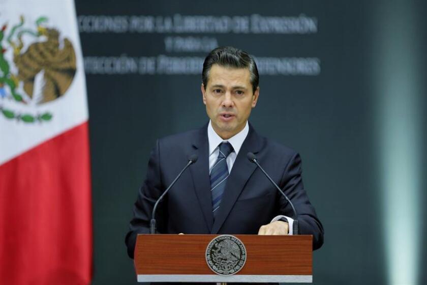 El presidente de México, Enrique Peña Nieto durante un mensaje a medios. EFE/Archivo