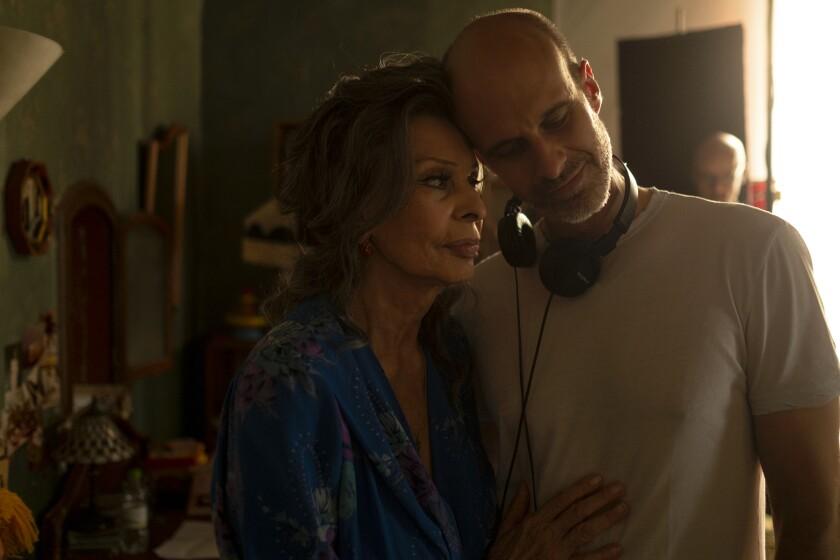 "Sophia Loren on the set of ""The Life Ahead"" with her director son, Edoardo Ponti."