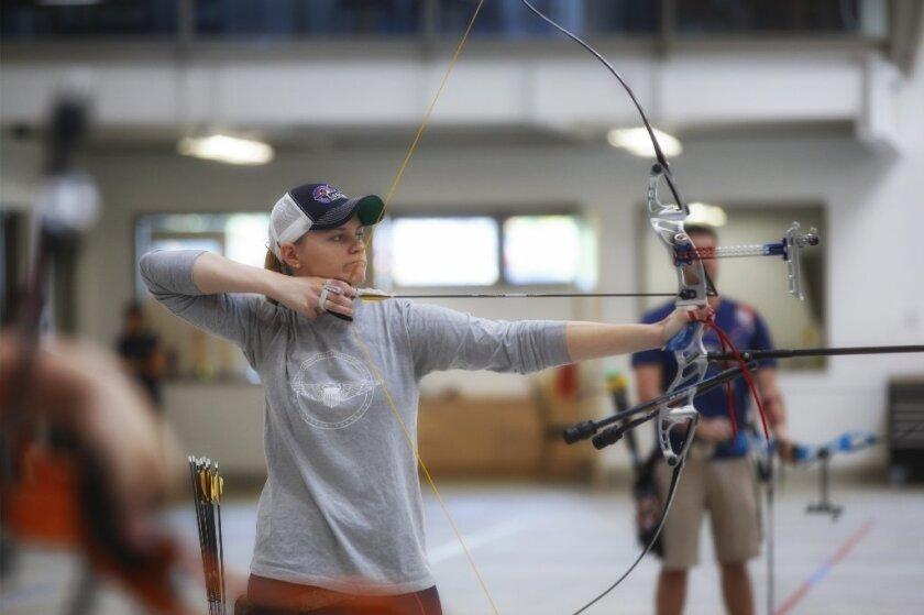 U.S. Olympic archer Mackenzie Brown, practices indoor at the Chula Vista Elite Athlete Training Center