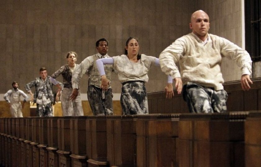 """The corp of dancers during dress rehearsal of the opera """"Invisible Cities,"""" in Union Station in Los Angeles on Oct. 17, 2013."""