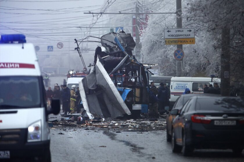 Downtown Volgograd, Russia, after a bombing. The Winter Olympics open in five weeks in Sochi, a few hundred miles away.