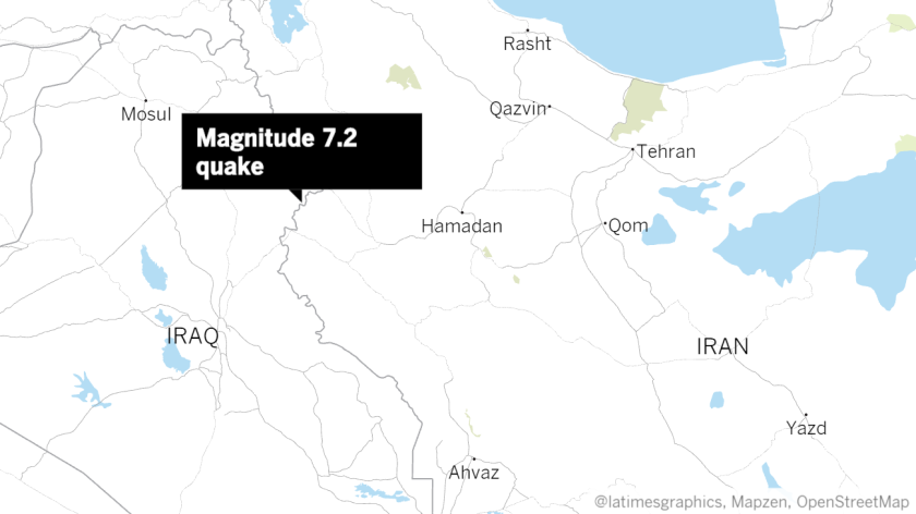 The earthquake's epicenter was 19 miles outside the Iraqi city of Halabja, near the border between Iran and Iraq.