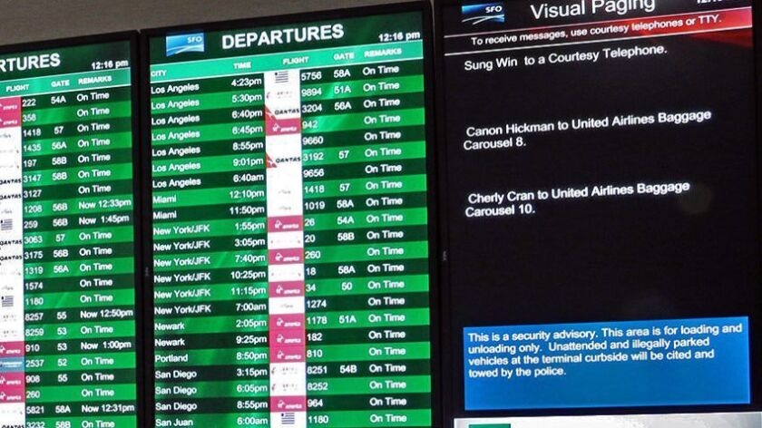 A visual paging screen at the San Fransisco International Airport's Terminal 2. Credit: SFO Paging,