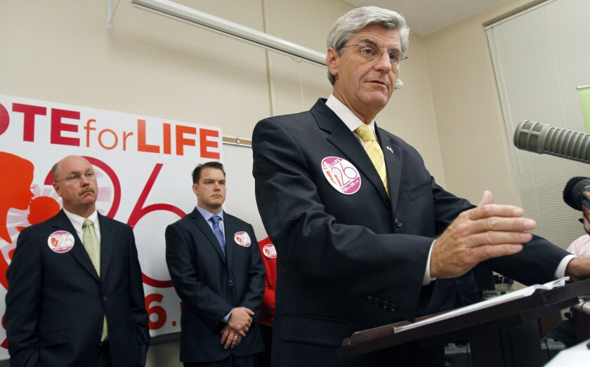 Mississippi Republican Gov. Phil Bryant: Working hard to do the very least for his citizens' health.