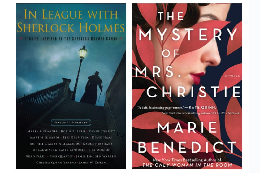 """Book jackets for """"In League With Sherlock Holmes"""" by Laurie R. King and """"The Mystery of Mrs. Christie"""" by Marie Benedict"""