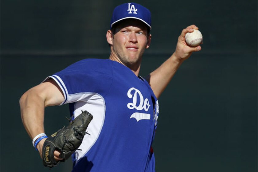 Dodgers pitcher Clayton Kershaw throws at spring training.